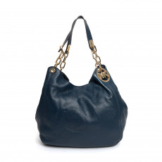 Michael Kors Fulton Blue Leather Large Shoulder Bag