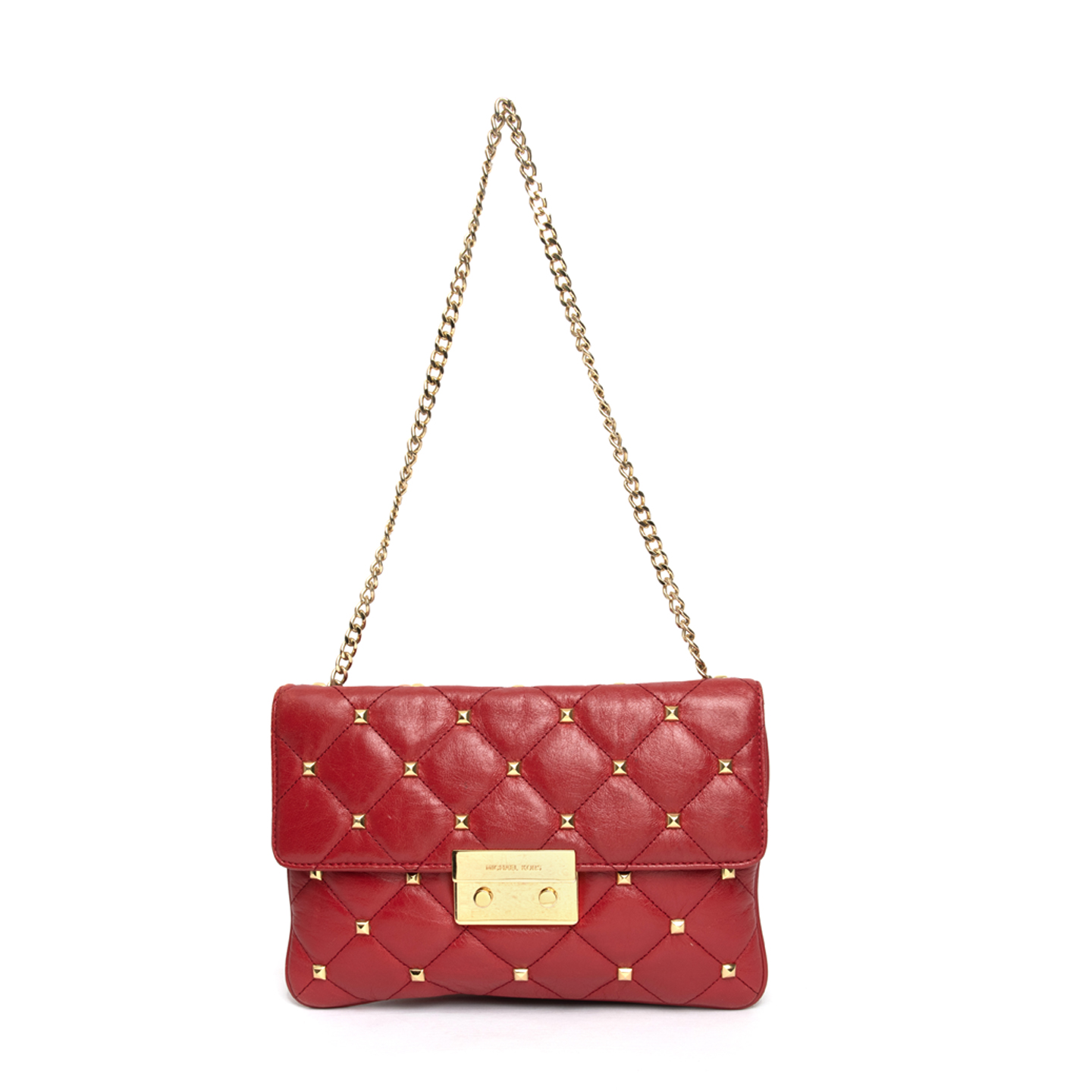 57293fc0b4c7 Michael Kors Red Sloan Quilted Stud Clutch Bag - LabelCentric
