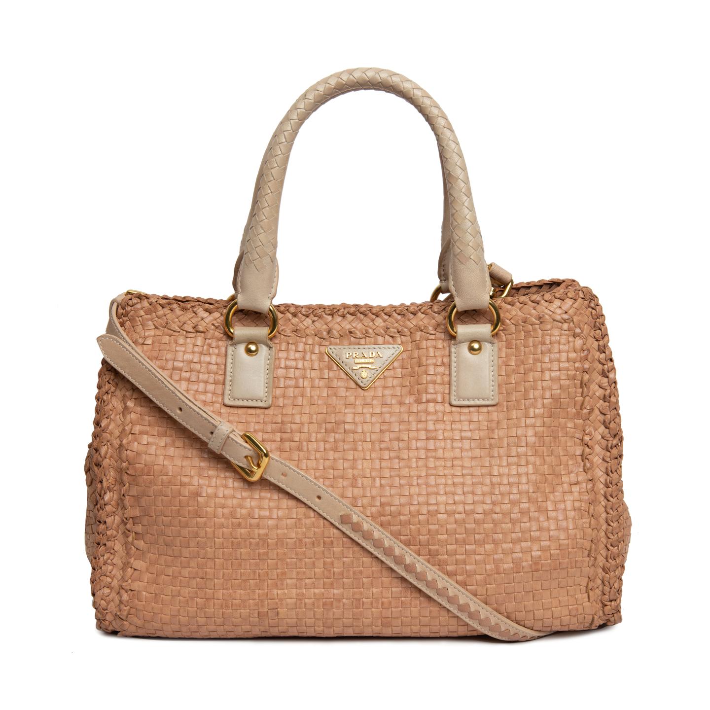 7326786e24eaec Prada Beige Woven Goatskin Leather Madras Tote Bag BN2114 ...