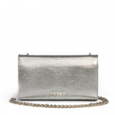 Fendi Metallic Silver Satin Chain Clutch 01