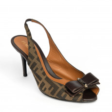 Fendi Tobacco Zucca Slingback Sandals 01