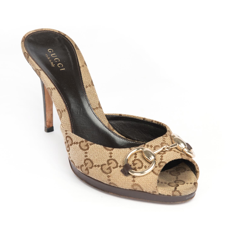 Gucci Beige:Ebony Horsebit GG Canvas Hollywood Slide Sandals 01