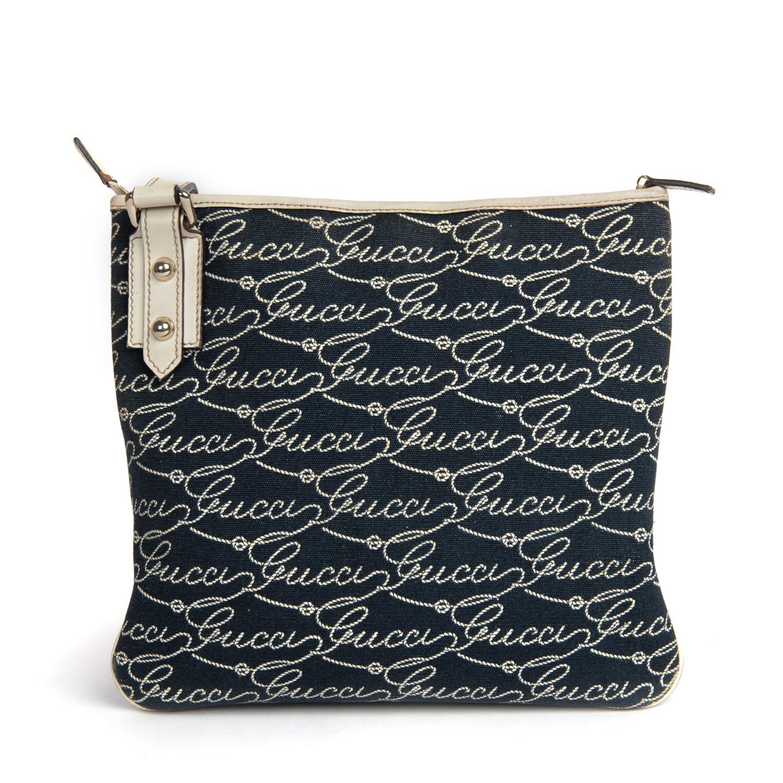 Gucci Blue Canvas Crossbody Messenger Bag 01
