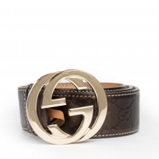 Gucci Guccissima Unisex belt, Interlocking G Buckle 01