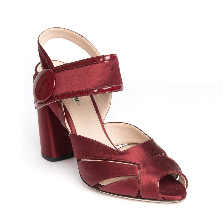 Miu Miu Burgundy Patent Leather Trimmed Satin Sandals 01