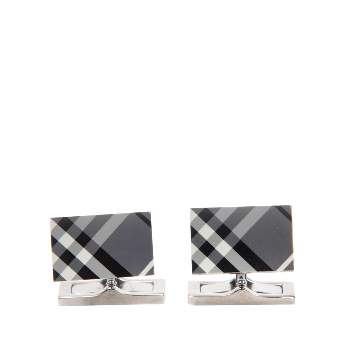 Burberry Check Logo Rectangular Cufflinks