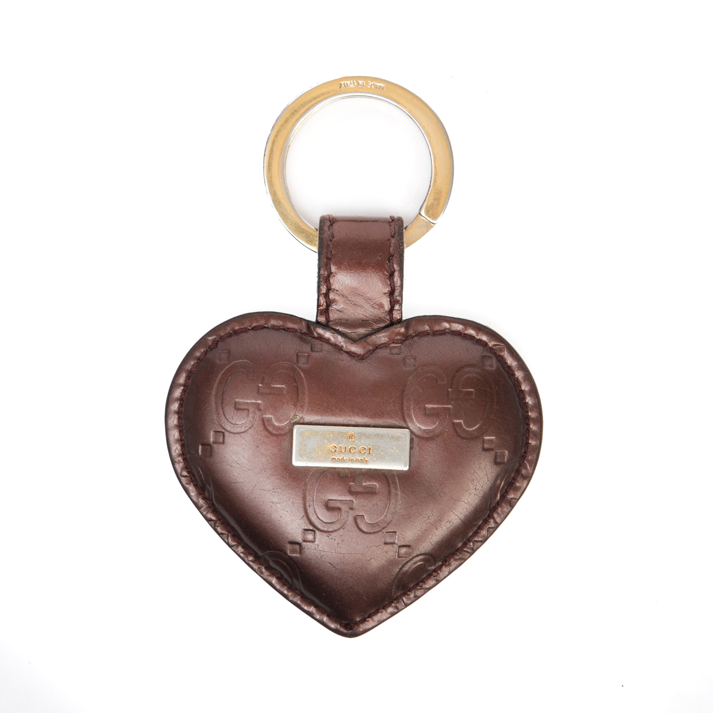 Gucci Guccissima Bronze Leather Heart Keychain 01
