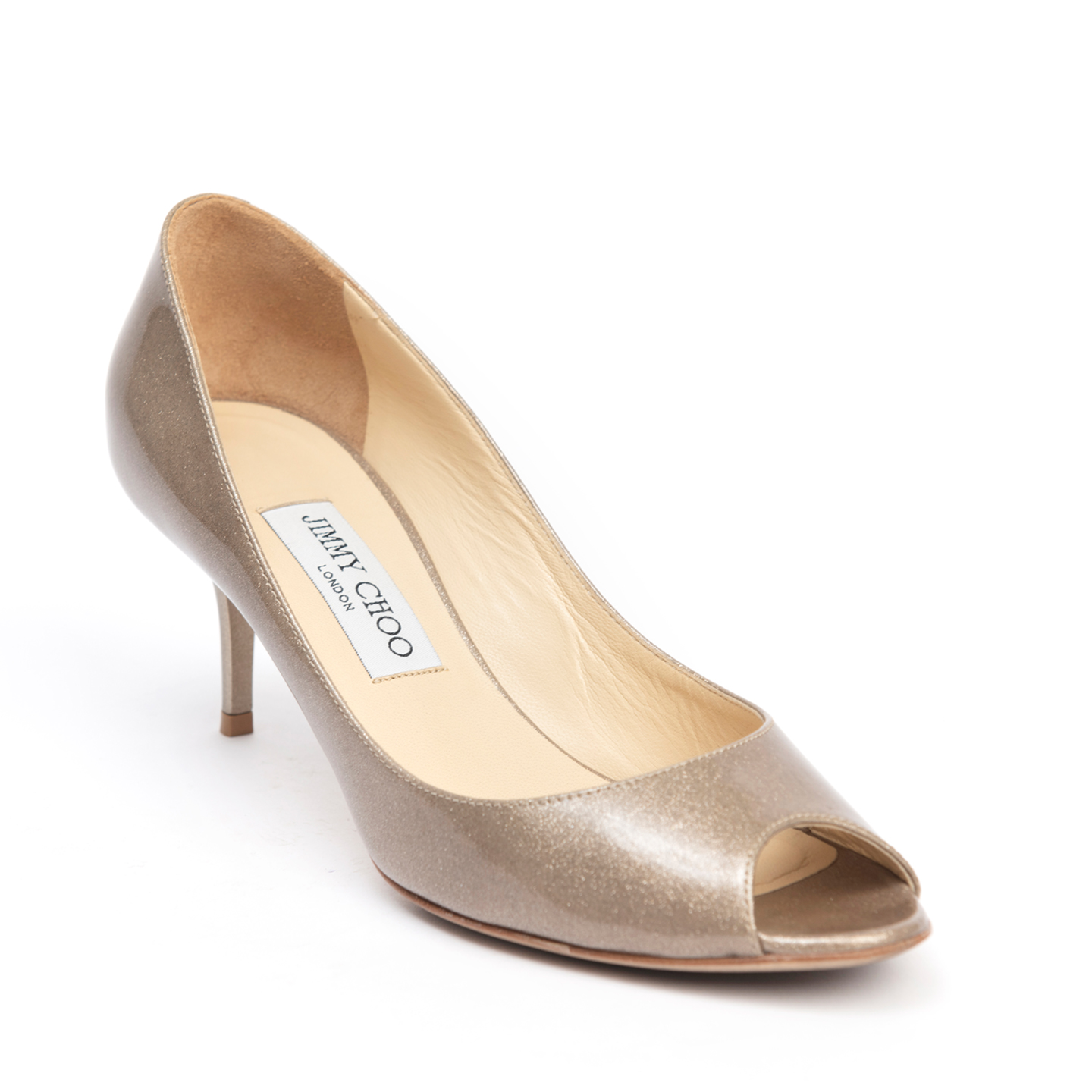 Jimmy Choo Dark Metallic Gold Patent Evelyn Peep-toe Pumps