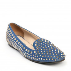 Prada Blue Smoking Studded Slipper Flats 02