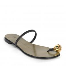Giuseppe Zanotti Black Embellished Toe Ring Flat Sandals 01