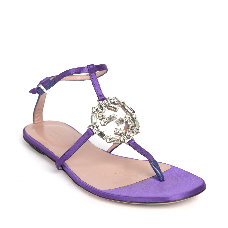 Gucci Purple Satin GG Sparkling Thong Flat Sandals 01