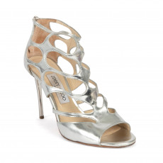 Jimmy Choo Ren 100 Mirror Leather Sandals Silver 01