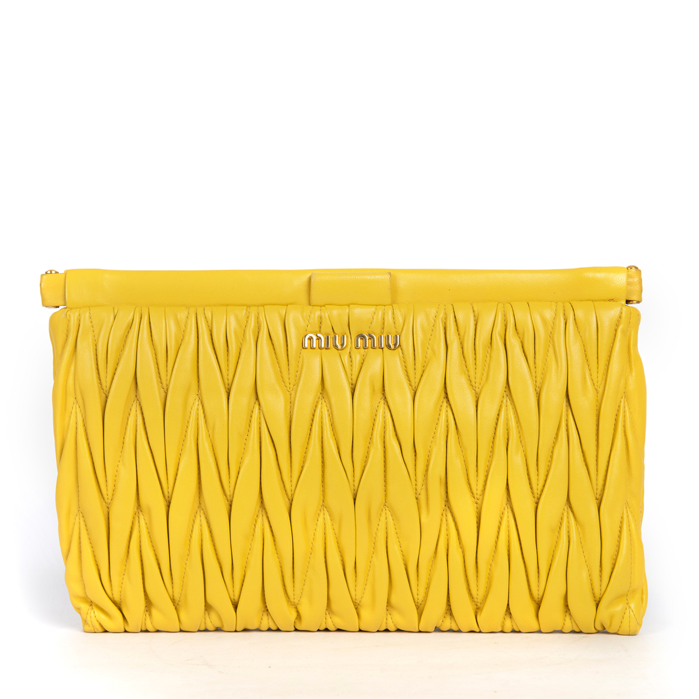 Miu Miu Yellow Matelasse Frame Clutch Bag 01