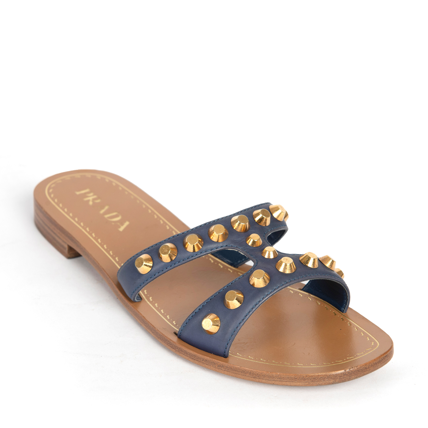 Prada Blue Leather Studded Flat Slide Sandals 01