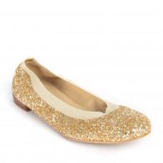 Stuart Weitzman Lastikon Gold Glitter Ballet Flats 01