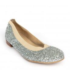 Stuart Weitzman Lastikon Silver Glitter Ballet Flats 01