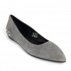 Tod's Grey Suede Stud Embellished Pointed Toe Ballet Flats 01