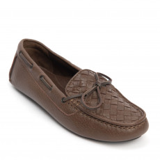 Bottega Veneta Brown Intrecciato Leather Loafers 01