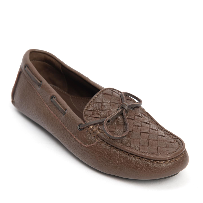Bottega Veneta Brown Intrecciato Leather Loafers 01