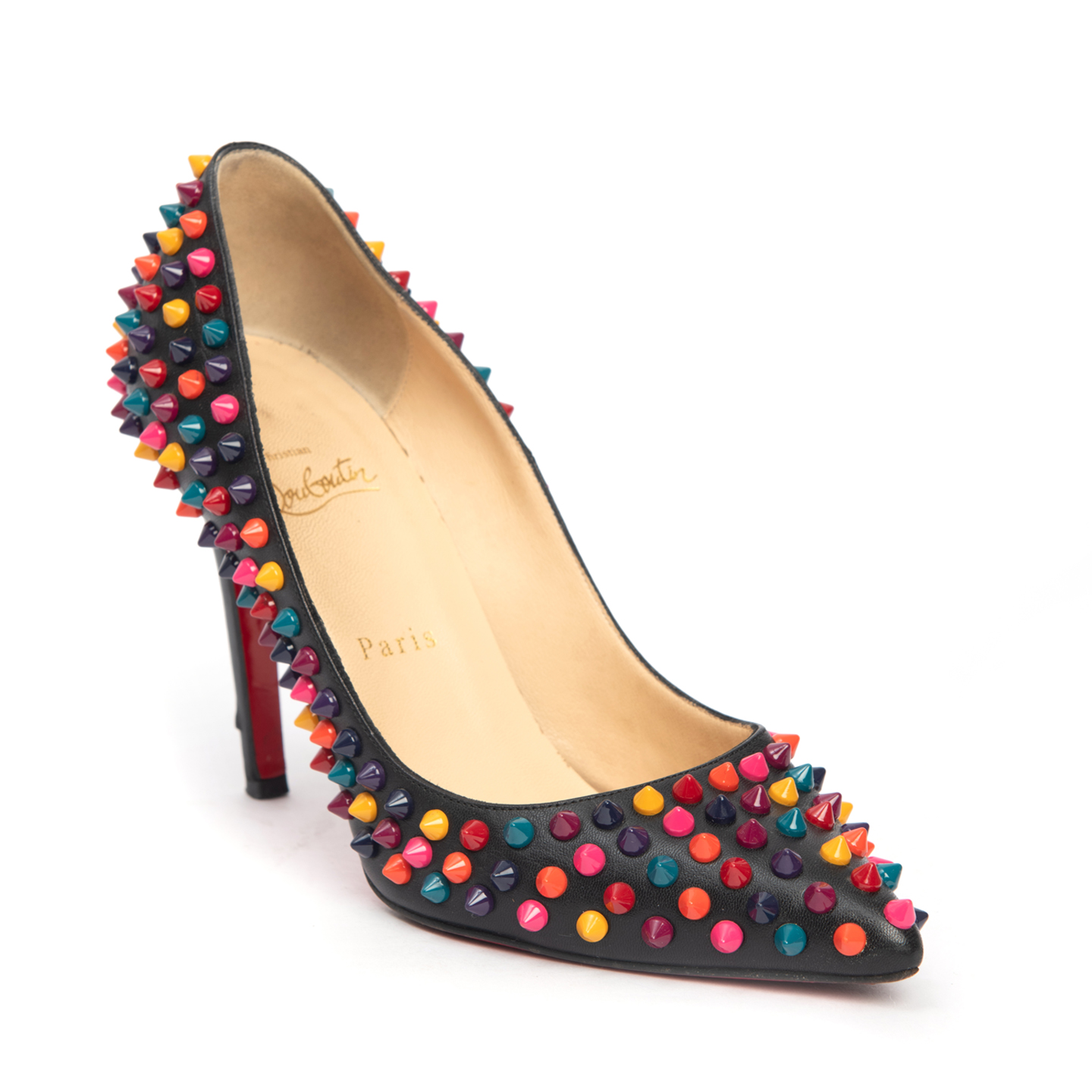 Christian Louboutin Black Leather Pigalle Mulitcolor Spikes 100mm Pumps 02