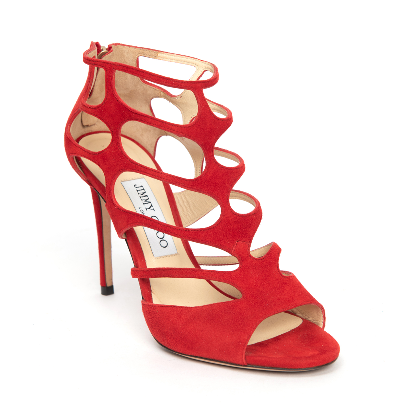 Jimmy Choo Red Suede Leather Ren 100 Sandals 01