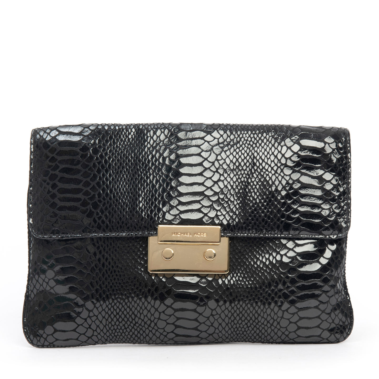 Michael Kors Sloan Python-Embossed Clutch 01