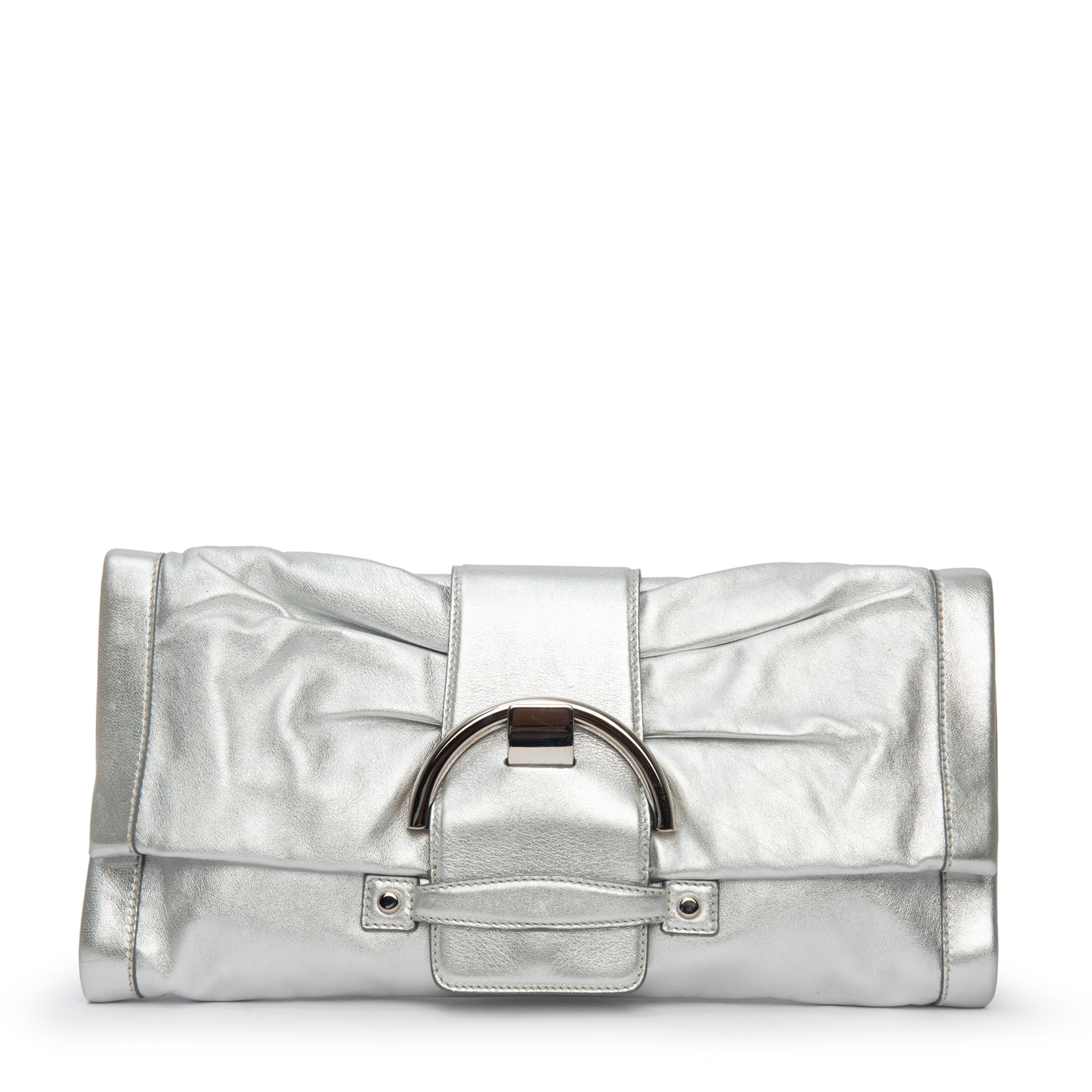 Sergio Rossi Metallic Silver Leather Envelope Clutch 03
