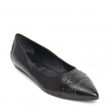 Tod's Black Leather Pointed Toe Ballet Flats 01