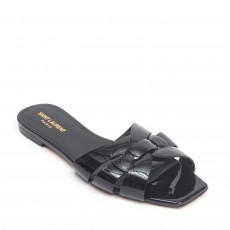 Saint Laurent Paris Black Patent Tribute Flat Slides 01