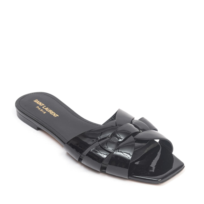 Saint Laurent Paris Black Patent Tribute Flat Slides 01