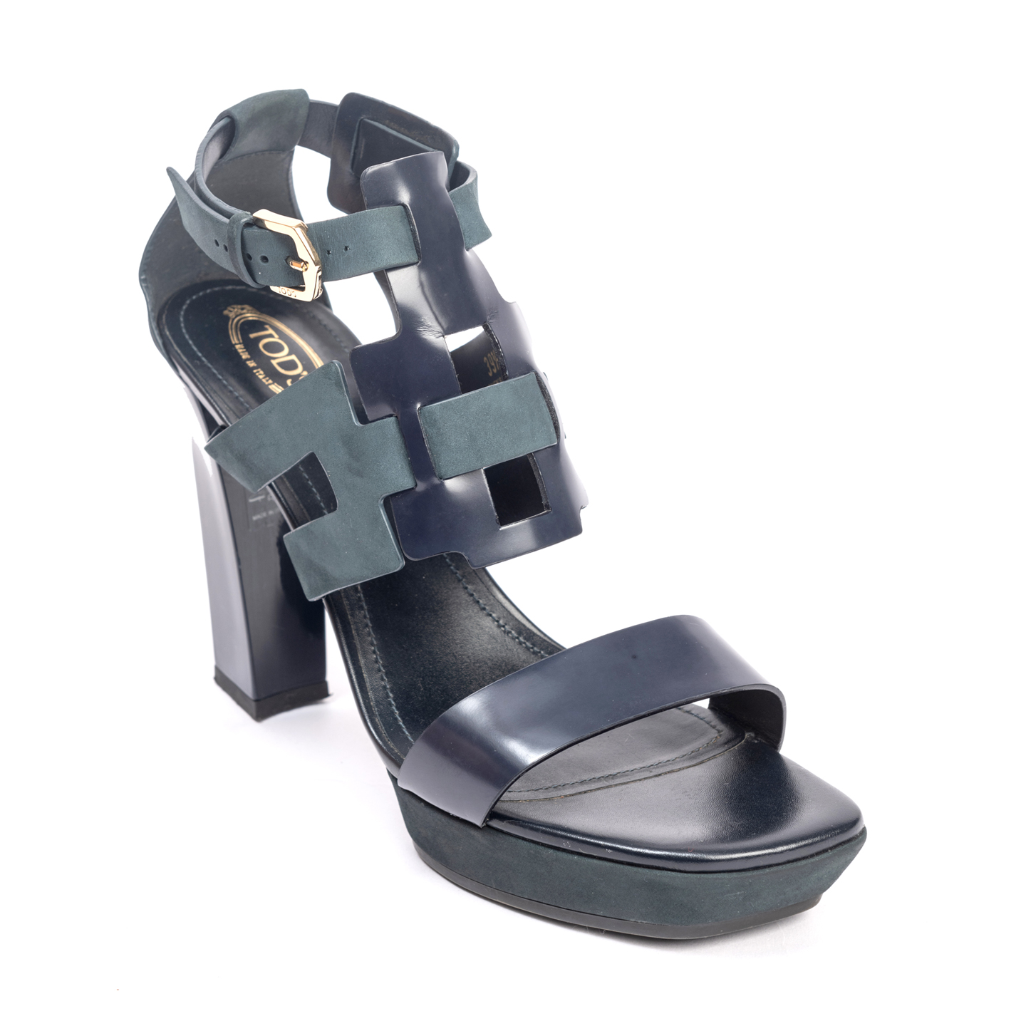 Tod's Two Tone Leather Cutout Platform Sandals 01