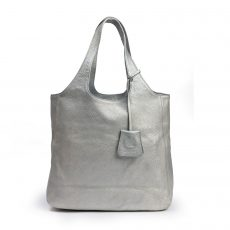 Burberry Metallic Silver Leather Hobo (03)