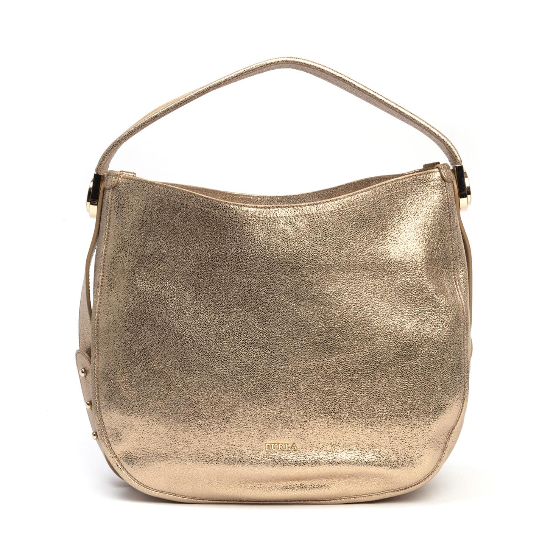 Furla Luna Gold Leather Hobo Bag (01)