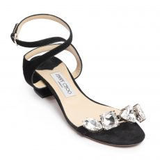 Jimmy Choo Marine 35 Suede Sandals with Crystals (01)