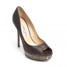 Jimmy Choo Ravish Metallic Leather Peep-toe Platform Pumps 05