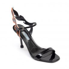Prada Black Patent Leather Flame Detail Sandals (01)
