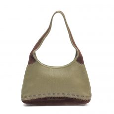Salvatore Ferragamo Green Leather and Suede Small Hobo (01)