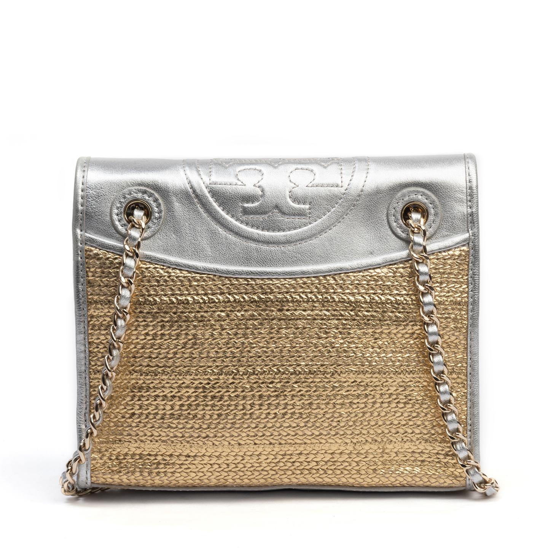 Tory Burch Fleming Metallic Flap Shoulder Bag (01)