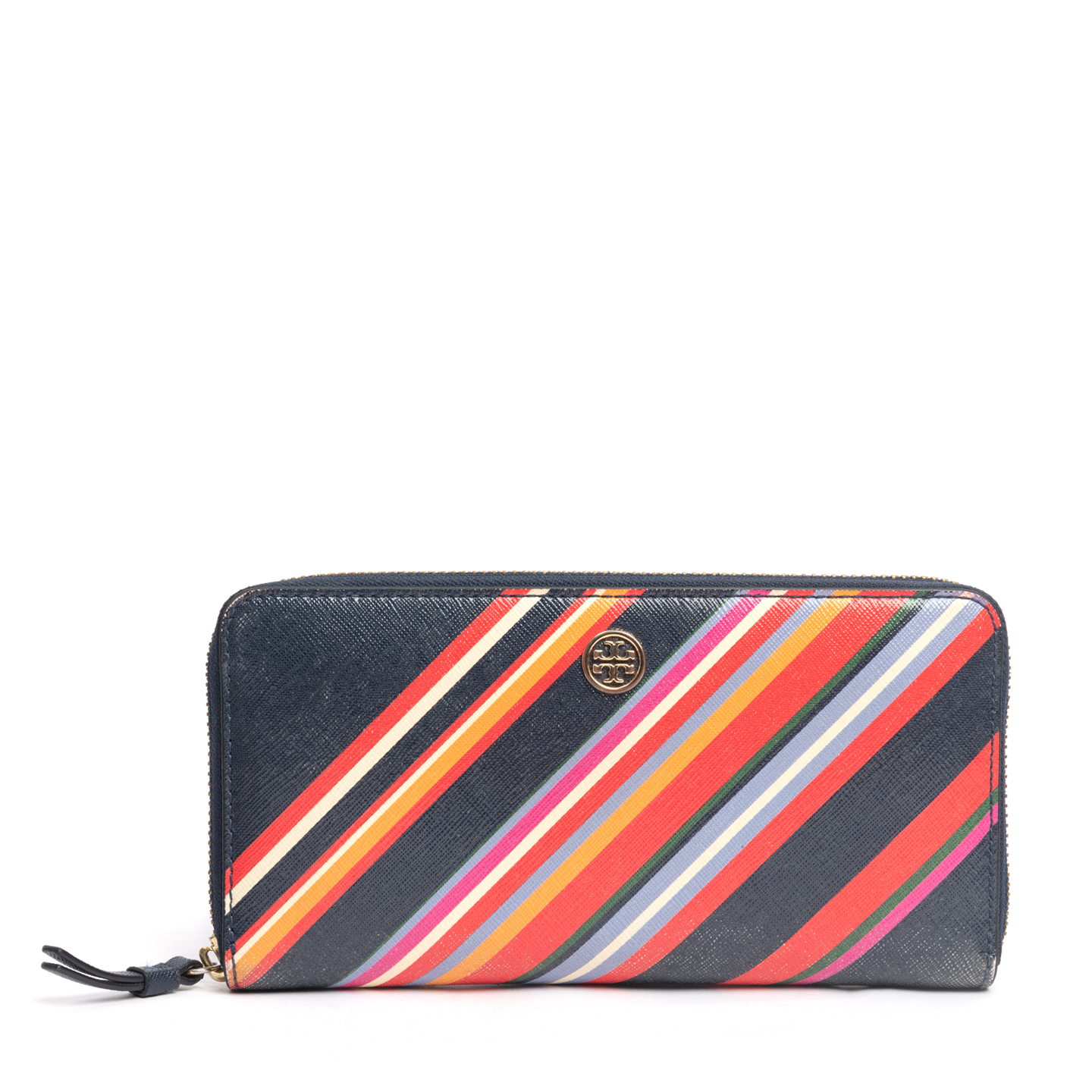 Tory Burch Robinson Striped Zip Leather Continental Wallet (01)