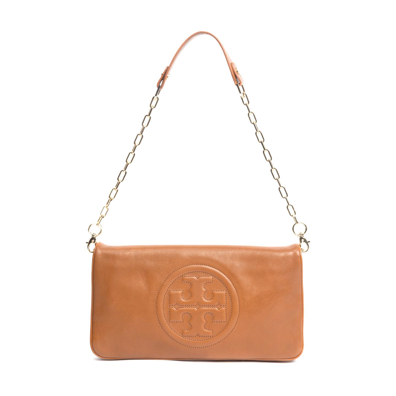 Tory Burch Tan Leather Bombe Reva Shoulder Bag (01)