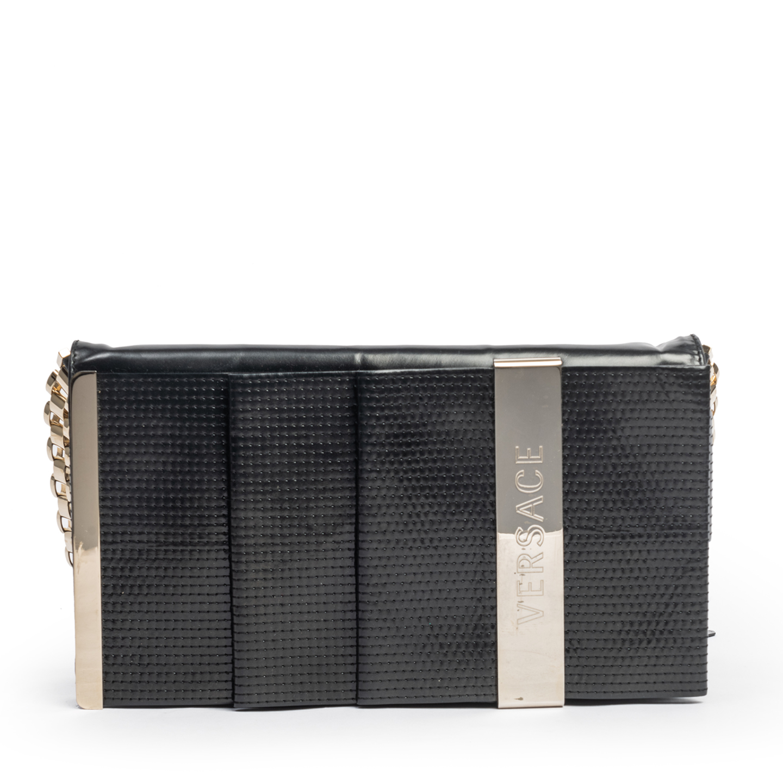 Versace Black Lambskin Flap Shoulder Bag 01