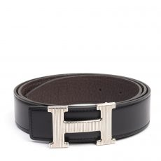 Hermes Reversible Grooved Finished H Buckle Belt (04)