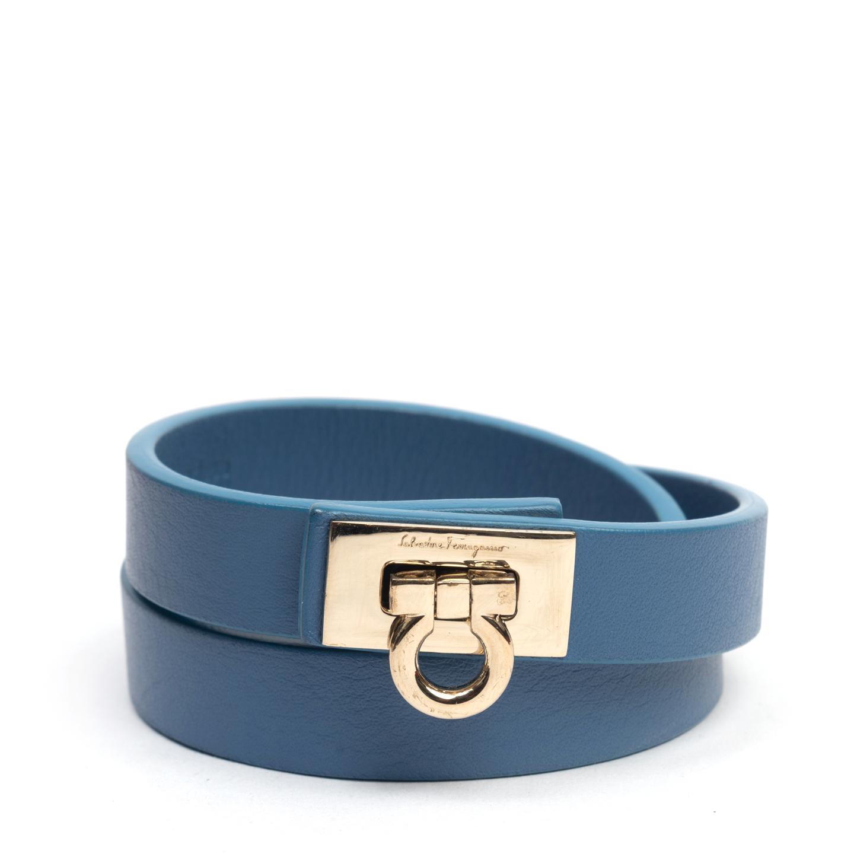 Salvatore Ferragamo Gancini Lock Blue Leather Wrap Bracelet (02)