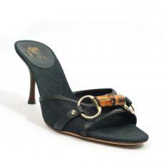 Gucci Black Bamboo Horsebit Slide Sandals (03)