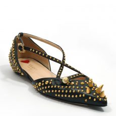 Gucci Black Studded Pointed Toe Unia Flat Sandals (05)