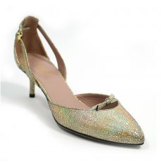 Gucci Crackled Metallic Leather Mid Heel Pumps (01)