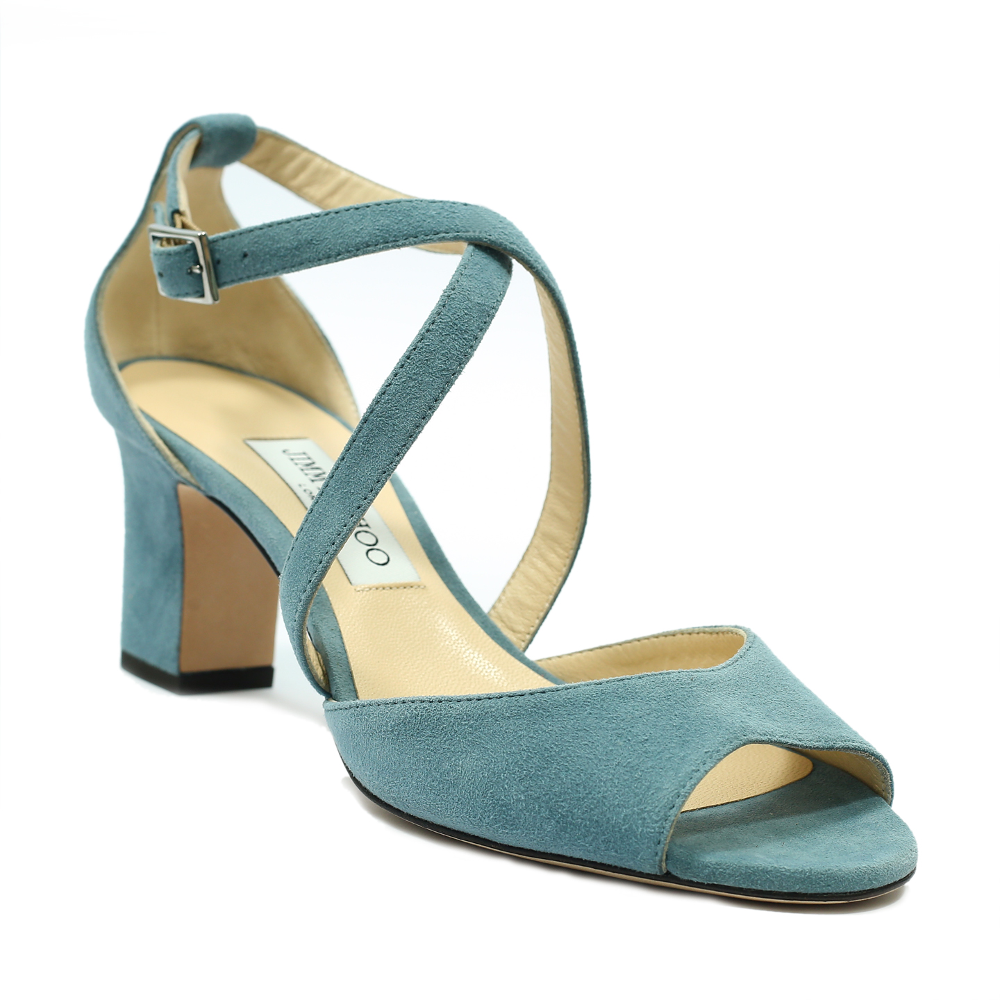 Jimmy Choo Dusk Blue Suede Carrie 65 High Sandals (03)