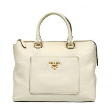 Prada Cream Vitello Daino Leather Tote Bag (01)