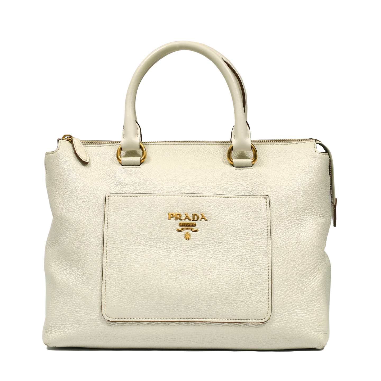Prada Cream Vitello Daino Leather Tote Bag (01)