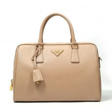 Prada Sabbia Saffiano Lux Leather Top Handle Bowler Bag (01)